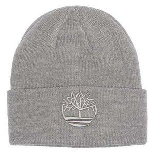 Timberland Cuffed Embroidered Logo Gray Beanie